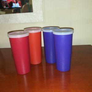 4 Vtg. Tupperware Tumblers